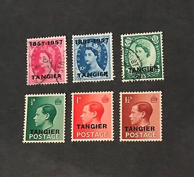 Great Britain stamps Tangier  King George Vl Queen Elizabeth lot of 6         Se