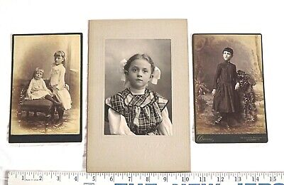 Lot 3 Antique PHOTOGRAPHS YOUNG GIRLS CHILDREN Victorian Edwardian CABINET CARDS