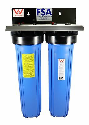 "WaterMark Certified Twin Whole House Water Filter System 20"" x 4.5"" Big Blue"