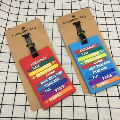 PVC Travel Luggage Tag Letter Address Holder Baggage Label Silicone Identifier