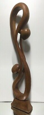 VTG. LG. HAND CARVED Wood ABSTRACT MID-CENTURY MODERN SCULPTURE Folk Art