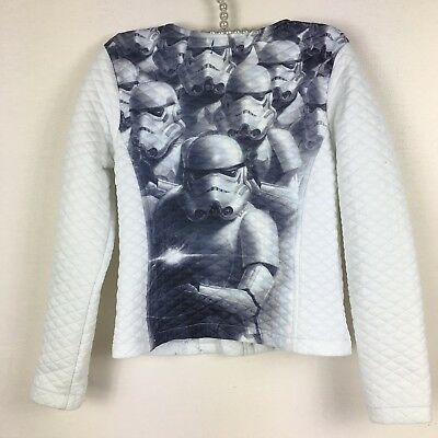 Star Wars Girls Quilted Jacket Lightweight White Storm Troopers Size S 7 8