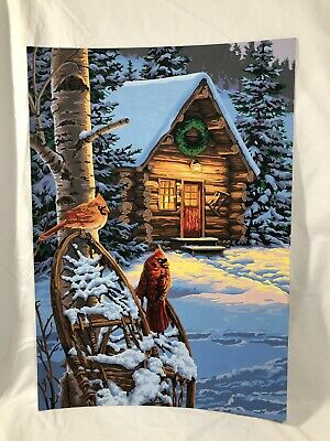 """Vintage Christmas Cabin Cardinals Birds Paint By Number Painting 20"""" x 14""""  Excl"""
