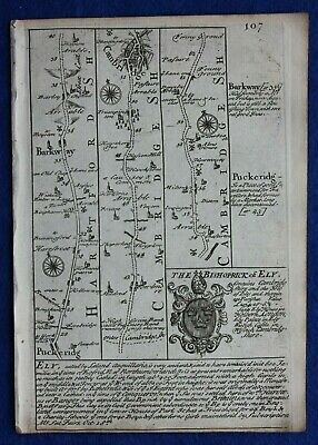 Original antique road map CAMBRIDGESHIRE, ELY, NORFOLK, KINGS LYNN, Bowen c.1724