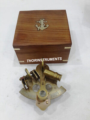 Antique Marine Maritime Handmade Vintage Brass Sextant With Anchor Wooden Box