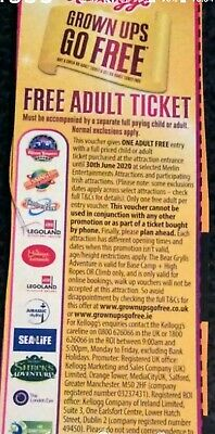 Adult Ticket Merlin Entertainments Attractions, Alton Towers, Legoland, Thorpe.