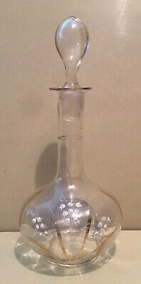 Beautiful Vintage Hand Blown Clear Glass Decanter With Hand Painted Snow Drops