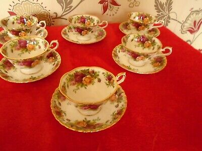 Royal Albert Old Country Roses **  6 AVON TEA CUPS + 6 MONTROSE SAUCERS VGC