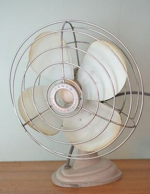 Vintage Lenco electric fan mint green mid century metal
