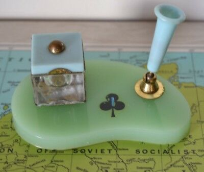 Vintage inkwell and fountain pen holder office mid century desk writing