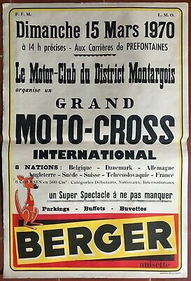 Affiche BERGER GRAND MOTO-CROSS INTERNATIONAL Montargis 1970