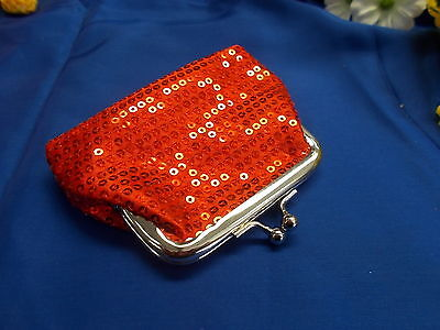 *** Stylish Red Sequin Coin Purse - Clasp / Snap Closure/Open New # 59