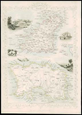 """1850 Illustrated Antique Map of """"CHANNEL ISLANDS"""" Guernsey  by Tallis (70d)"""