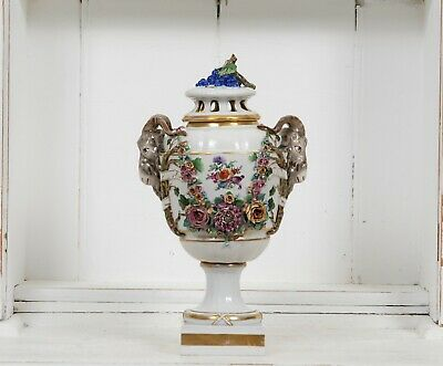 An antique 18th century German porcelain Ludwigsburg vase urn potpourri vase