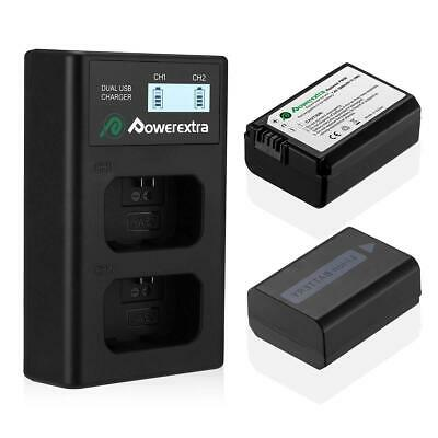 Powerextra Dual USB Charger, High Capacity & 100% Safe - 2 Pack NP-FW50 Battery