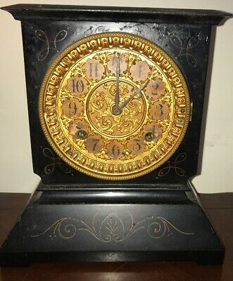 Antique Ansonia 8 Day Striker Cast Iron Mantle Clock