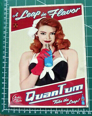 Fallout Nuka Cola Quantum Hot Red Head  Vintage Style Metal Sign