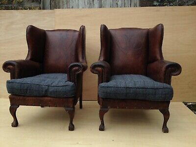 Pair vintage leather wingback armchairs antique studded club chair