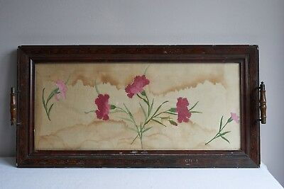 Antique 1910 original wood surround painted silk serving breakfast cocktail tray