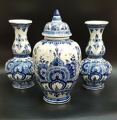 Trio Of 20th Century Hand Painted Large  Delft Vases