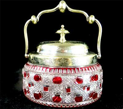 M037 Antique Cranberry Hobnail Cut To Clear Glass Biscuit Barrel Stourbridge