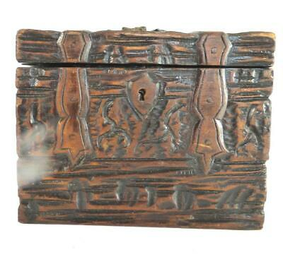 Antique Black Forest Carved Wood Tea Caddy Box