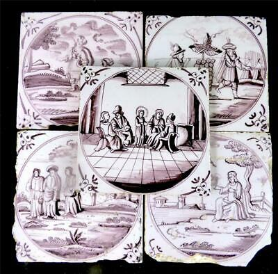 M034 Five Antique Biblical 18Thc Dutch Delft Manganese Hand Painted Tiles