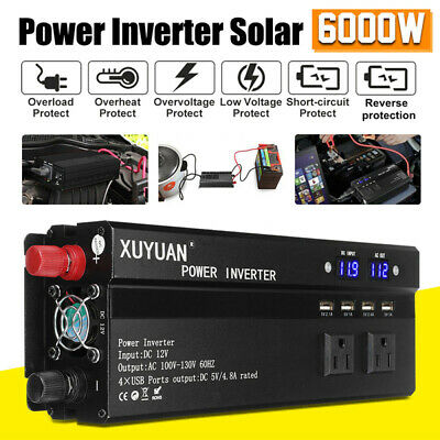 3000W-6000W Power Inverter DC12/24V To AC110V/220V Converter Dual LED Digital