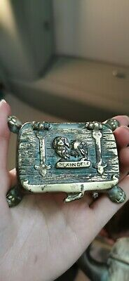 Antique Victorian Art Nouveau Brass Jewellery Trinket Box Chest Mother French
