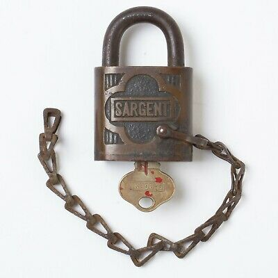 Antique Sargent Brass Padlock with Shank Shackle Chain Model B 32 with Key