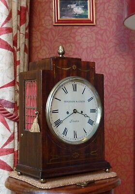 Antique Twin Fusee, Silvered Bell, Bracket Clock By Brockbank & Atkins, London