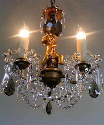 "21"" x 12"" Antique French Bronze Cherub, 3 Arm Gilt Lead Crystal Chandelier 1910"