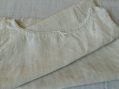Antique vintage French linen night dressing gown peasant smock shirt dress