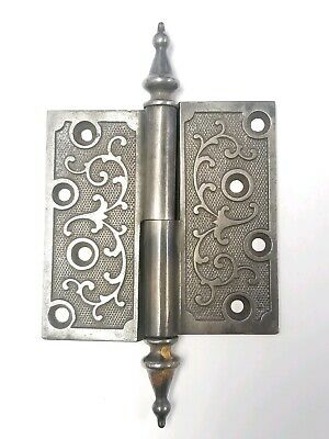 Cast Iron Antique Ornate Steeple Top Eastlake Door Hinge 4x4 E106