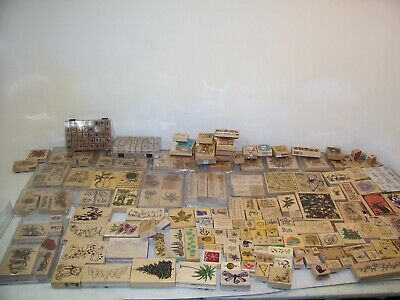 Huge 250+ Wood Stamp LotStampin Up Very Nice Condition BIG AND SMALL STAMPS