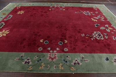 Antique ART DECO NICHOLS Chinese Area Rug RED/GREEN Oriental Hand-Knotted 9'x12'