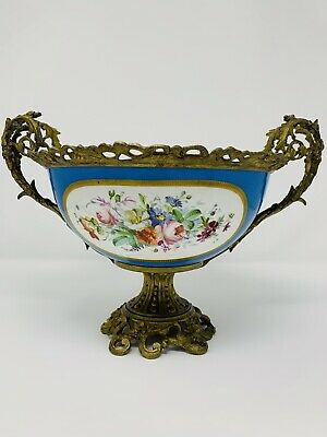 Gorgeous turquoise Sevres style porcelain and bronze bowl centerpiece.