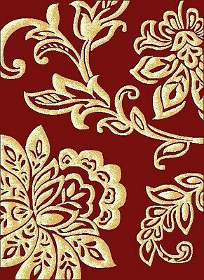 Red Floral Rug Gold Lotus Soft Low Pile Modern Contemporary Design