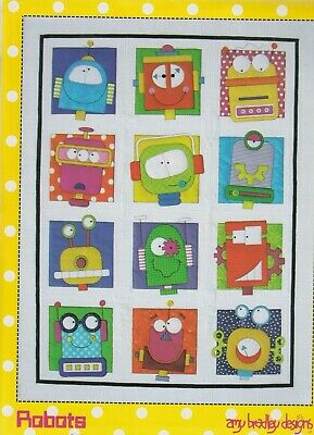 Robots - fun pieced & applique quilt PATTERN from Amy Bradley