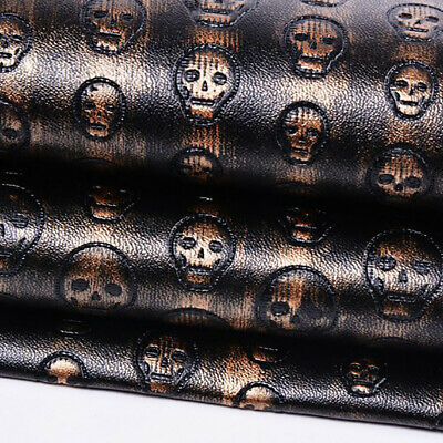 DIY Skull Faux PU Leather Fabric Sewing Upholstery Craft Patchwork Cloth Vinyl