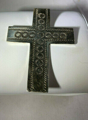 Vintage Large Sterling Silver Cross with etched designs