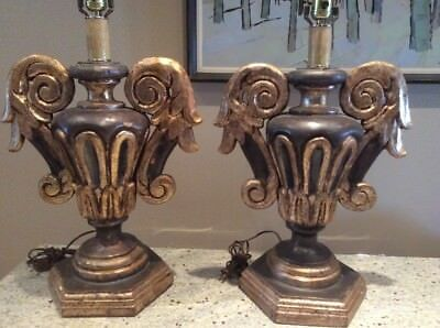 Monumental Pair Giltwood Polychrome Urn Lamps