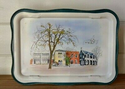 Vintage Willow TV Dinner fold up tray mid century Terraced houses