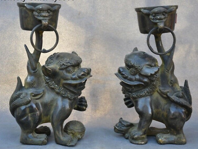 Chinese bronze foo dog lion beast Candlesticks Menorah Candle Holder Statue pair