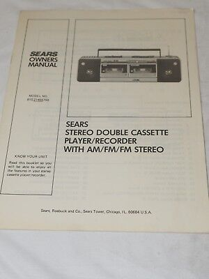 Sears Stereo double cassette Player/Recorder Owners Manual Model No,810.21455750