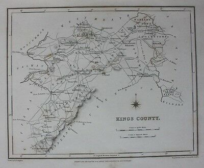 Original antique county map IRELAND, KING'S COUNTY, OFFALY, Lewis Dower, 1837