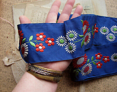 antique 1930s embroidered trim - vintage dark blue ribbon with large flowers
