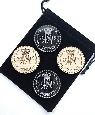 Laser Cut Engraved MDF Wood Oak Perspex Personalised Wedding Favour Coin Gift