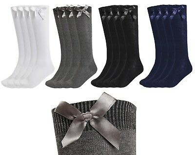 New Girls 3 Pack Value Knee High Bow Detail Back 2 School Cotton Rich Socks