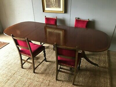 Georgian Vintage Mahogany Twin Pedestal Extending Dining Table Seats 4-8 People
